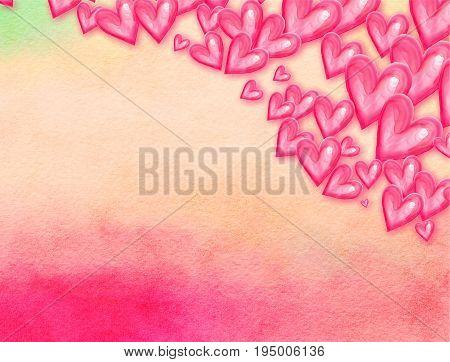 A watercolour effect background design with pink love heart shapes.