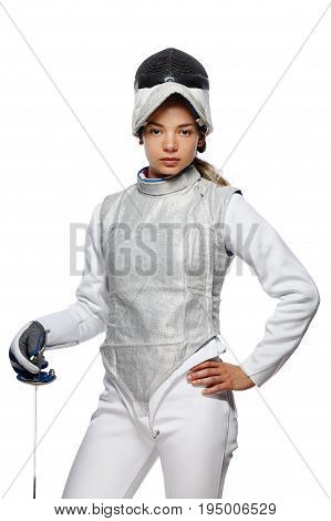Young Woman Fencer With Mask And White Fencing Costume