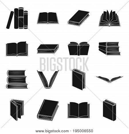 Books set icons in black design. Big collection of books vector symbol stock illustration
