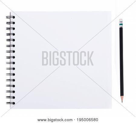 blank realistic spiral notebook isolated on white background