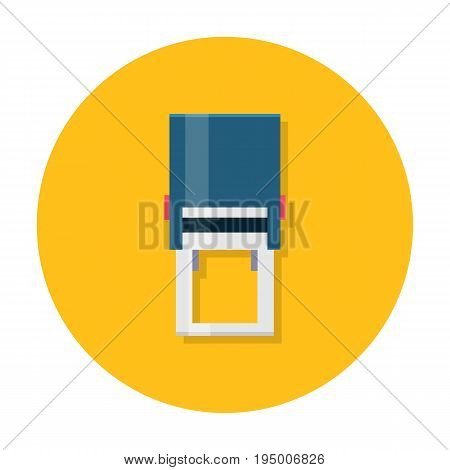 Flat stamper icon, self inking corporate and company automatic seal. Office hand shtamper. Vector cartoon illustration. Business concept