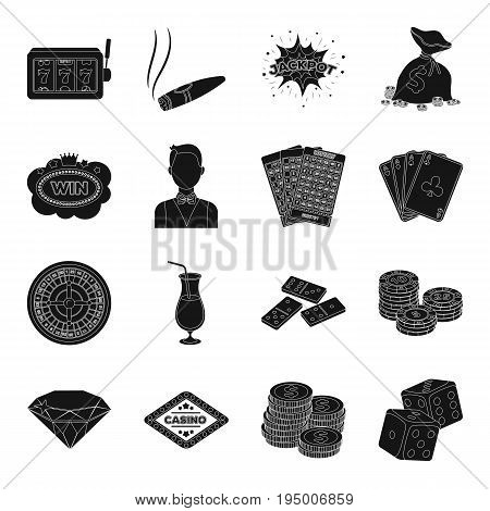Roulette, cards, croupier, alcohol, and other attributes. Casino and gambling set collection icons in black style vector symbol stock illustration .