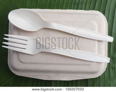 bioplastic spoon fork biodegradable on banana leaf