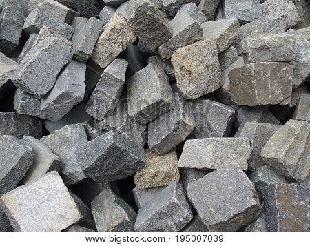 raw  grey granite stone wait for processing