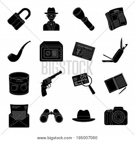 Pistol, tube, identification, magnifier and other attributes. Detective set collection icons in black style vector symbol stock illustration .