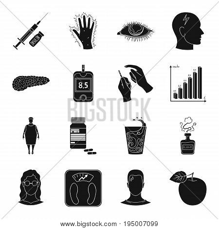 Insulin, sugar, level, analysis, diet and other attributes. Diabetes set collection icons in black style vector symbol stock illustration .