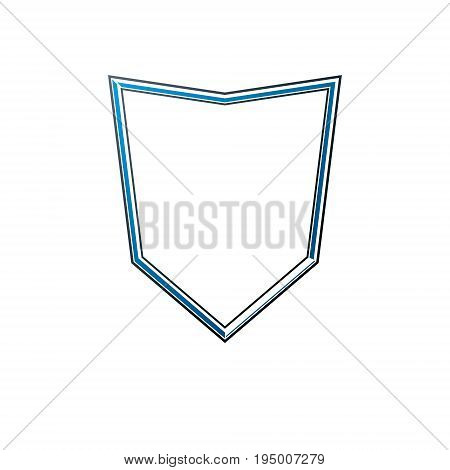 Vintage frame with clear copy-space heraldic design protection shield. Antique Coat of Arms decorative emblem isolated vector illustration.