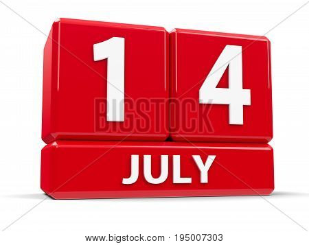 Red cubes - The Fourteenth of July - on a white table - The Bastille Day three-dimensional rendering 3D illustration
