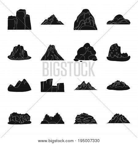 Rock, peak, volcano, and other kinds of mountains. Different mountains set collection icons in black style vector symbol stock illustration .