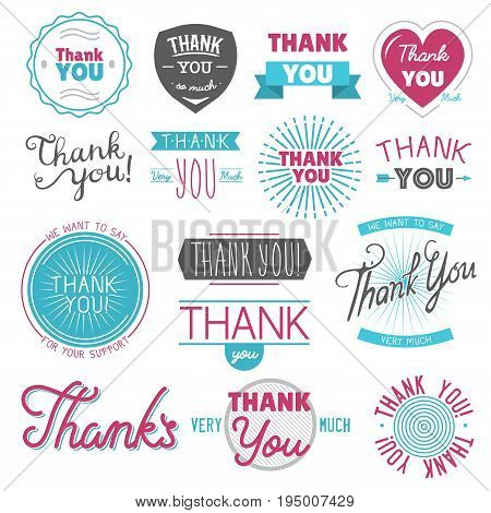 Thank you gratitude feeling emotions text lettering vector logo badge thanksfull quote phrases message isolated on white