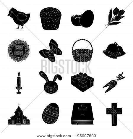 Easter cake, egg, chicken, rabbit, butterfly and other attributes. Easter set collection icons in black style vector symbol stock illustration .