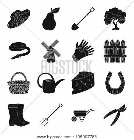 Mill, gloves, fence and other farm equipment. Farm and gardening set collection icons in black style vector symbol stock illustration.