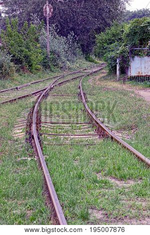 Old grass-covered railway with rails and sleepers