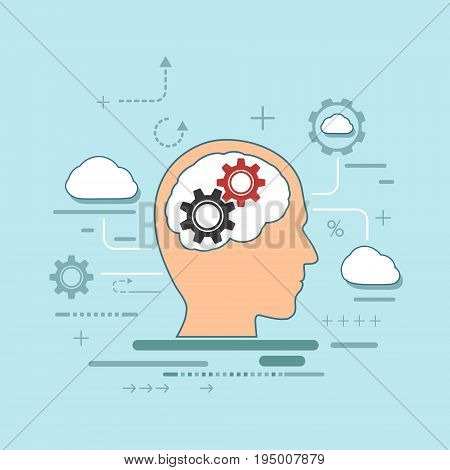 Silhouette of a human head with gears inside. Use the brain for creativity, innovation and thinking. Stock vector illustration in flat graphic style.