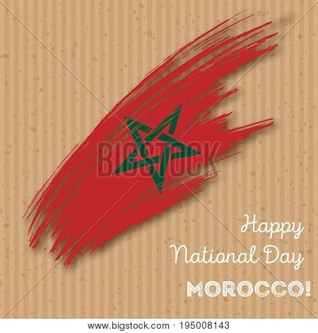 Morocco Independence Day Patriotic Design. Expressive Brush Stroke In National Flag Colors On Kraft