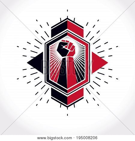 Revolution leader abstract sign vector red clenched fist raised up. Can be used as tattoo.