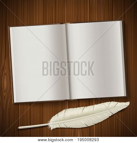 Notepad and feather lie on a wooden table. Vintage retro background. Blank white paper for writing. Stock vector illustration.