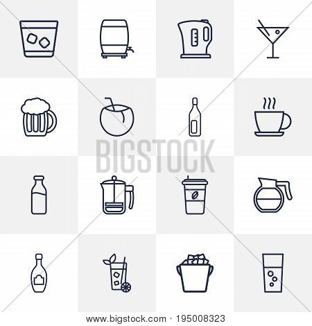 Set Of 16 Beverages Outline Icons Set.Collection Of Champagne, Coffeepot, Ice Bucket And Other Elements.