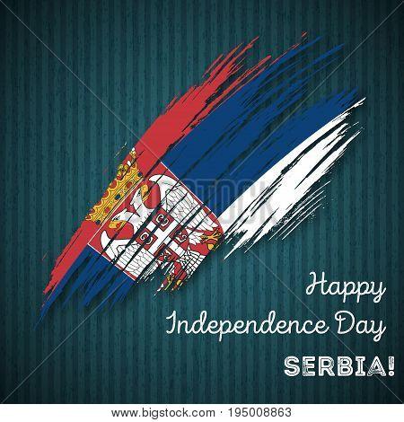 Serbia Independence Day Patriotic Design. Expressive Brush Stroke In National Flag Colors On Dark St