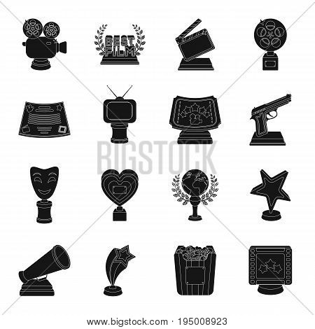 Camera, shout, Globe, objects for rewarding films.Movie Awards set collection icons in black style vector symbol stock illustration.