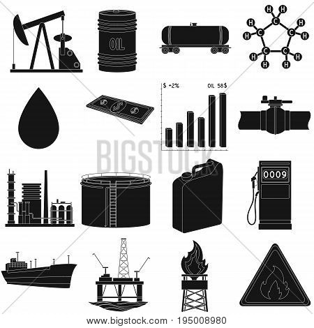 Oil rig, pump and other equipment for oil recovery, processing and storage.Oil set collection icons in black style vector symbol stock illustration .
