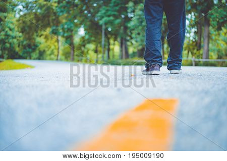 young asian boy traveling alone at park vintage tone