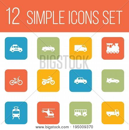 Set Of 12 Transport Icons Set.Collection Of Side View, Taxicab, Caravan And Other Elements.
