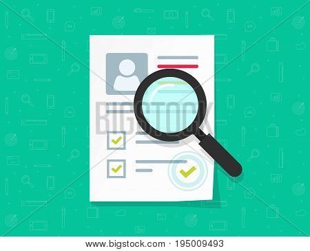 Human resources vector concept, flat cartoon paper document with personal data, approved stamp, idea of people recruitment research, employee hiring management, interview, cv sheet illustration
