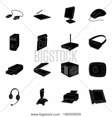 Personal computer accessories set icons in black design. Big collection of personal computer accessories vector symbol stock illustration