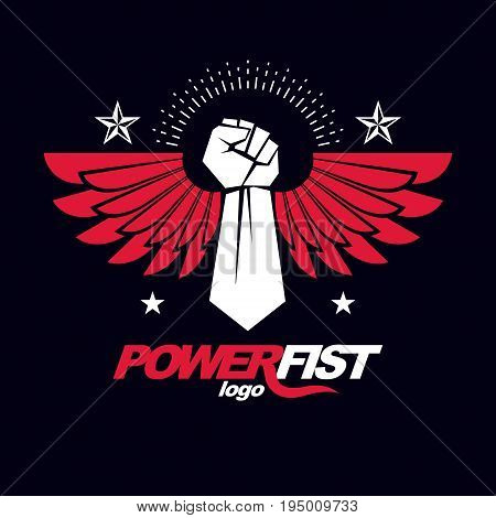 Strong raised arm of athletic man vector illustration. Martial arts championship abstract symbol.