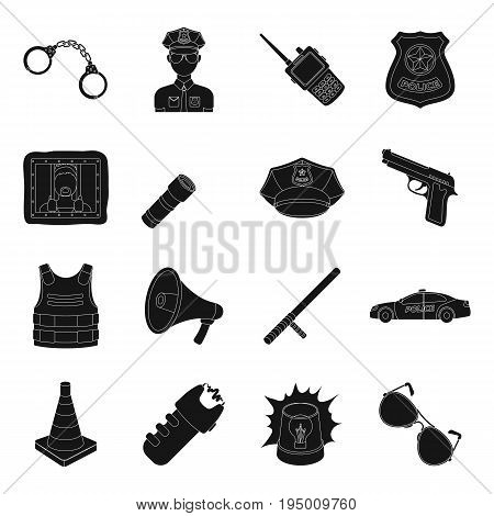 Police set icons in black design. Big collection of police vector symbol stock illustration