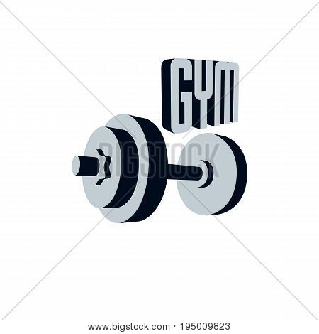 Fitness and heavyweight gym sport club logotype template retro stylized vector emblem or badge. With barbell.