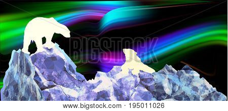 Northern landscape with silhouettes of polar bears and aurora. Blue white green pink and black polar landscape with mountains of ice crystals