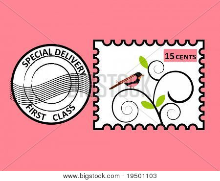 Bird stamp - layered for easy editing poster