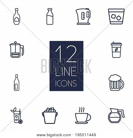 Set Of 12 Drinks Outline Icons Set.Collection Of Bottle, Coffeepot, Champagne And Other Elements.