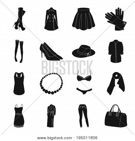 Dress, bra, shoes, women's clothing. Women's clothing set collection icons in black style vector symbol stock illustration .