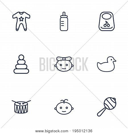 Set Of 9 Baby Outline Icons Set.Collection Of Baby, Boy, Rubber And Other Elements.