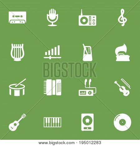 Set Of 16 Song Icons Set.Collection Of Tambourine, Tape, Karaoke And Other Elements.