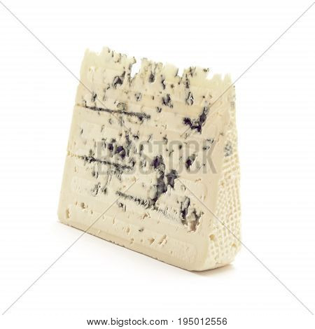 one Gorgonzola cheese slice studio isolated closeup