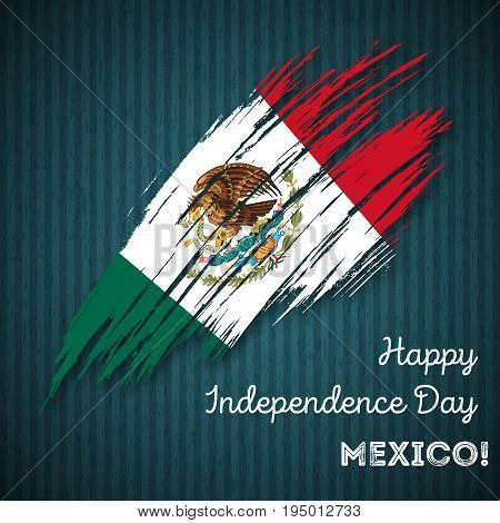 Mexico Independence Day Patriotic Design. Expressive Brush Stroke In National Flag Colors On Dark St