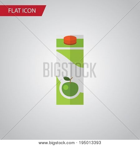 Isolated Apple Juice Flat Icon. Packet Beverage Vector Element Can Be Used For Apple, Juice, Packet Design Concept.