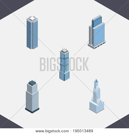 Isometric Building Set Of Tower, Apartment, Skyscraper And Other Vector Objects. Also Includes Tower, Skyscraper, Urban Elements.