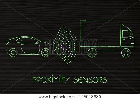 Vehicle With Sensors Detecting Proximity With Truck In Front Of It