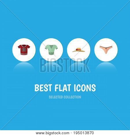 Flat Icon Dress Set Of T-Shirt, Lingerie, Elegant Headgear And Other Vector Objects. Also Includes Headgear, Clothes, Underwear Elements.