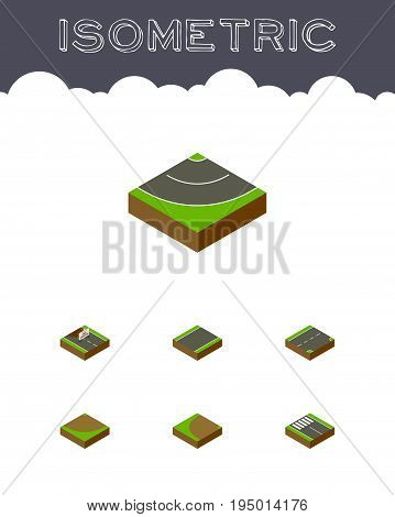 Isometric Road Set Of Repairs, Turn, Turning And Other Vector Objects. Also Includes Downward, Construction, Rotation Elements.