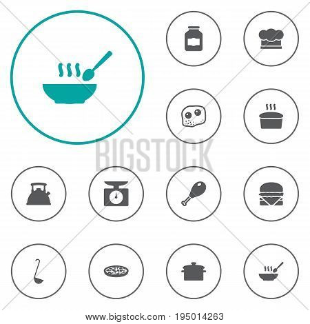 Set Of 12 Culinary Icons Set.Collection Of Jar, Teapot, Saucepan And Other Elements.