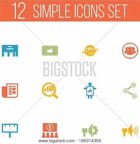 Set Of 12 Trade Icons Set.Collection Of Share, Loudspeaker, World And Other Elements.