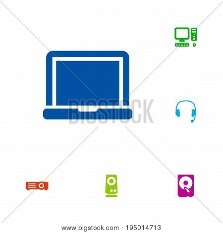 Set Of 6 Laptop Icons Set.Collection Of Laptop, Hard Disk, Amplifier And Other Elements.