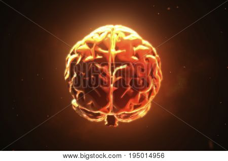 Big Strong Brain Pulsing In Orange 3D Illustration