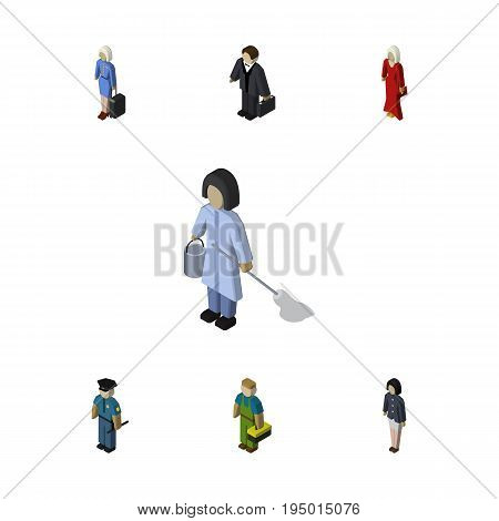 Isometric People Set Of Hostess, Housemaid, Plumber And Other Vector Objects. Also Includes Hostess, Policeman, Girl Elements.